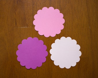 Pink and Purple Scalloped Circle Die Cuts - Gift Tag - Favor Tag - Scalloped Circles -  Card Stock Circles