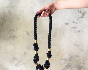 Black and Brass Twisted Fiber Necklace