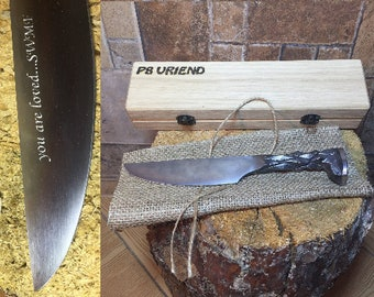 Railroad spike knife in engraved casket/wooden box, iron gift, hunting knife,engraved knife,personalized iron gift,gift for hunter,mens gift