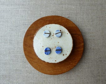 Indigo Marble Gold Lined Oval Stud Earrings