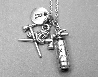 Fire hydrant necklace, fireman axe necklace, fireman necklace, firefighter necklace, fireman jewelry personalized necklace, initial necklace