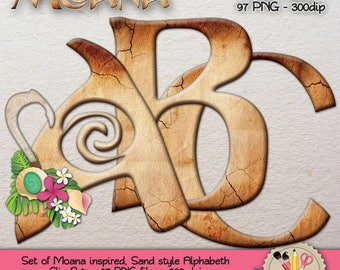 ALPHABET Clip Art Moana  Vaiana Oceania Maui Digital Download Scrapbooking