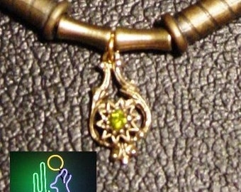 Antique Gold Teardrop Pendant with Peridot Gemstone Leather Necklace