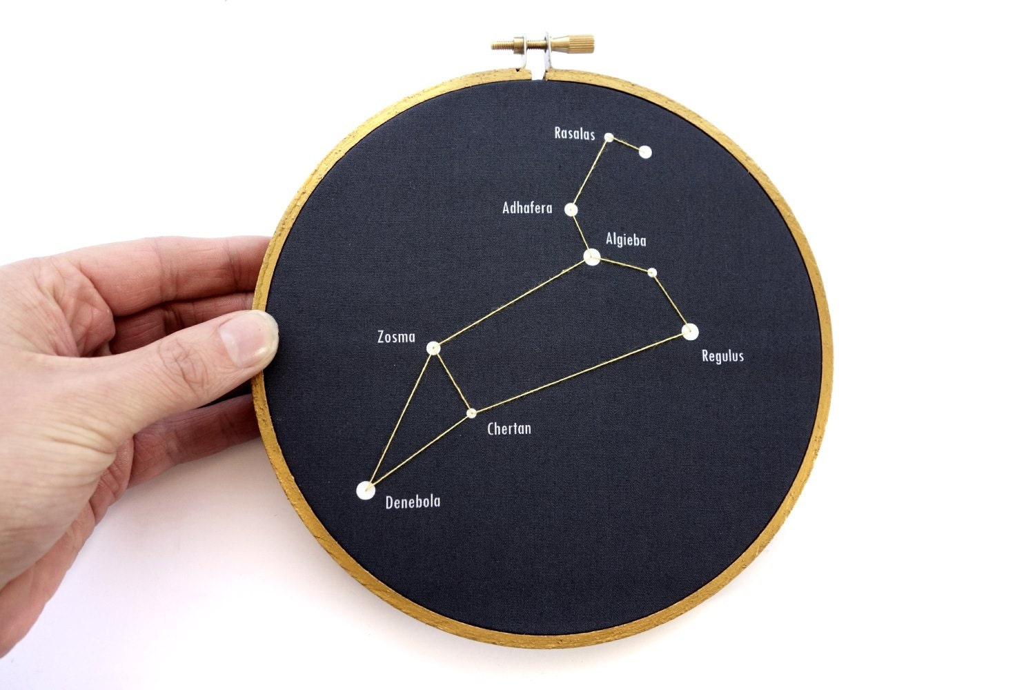 Leo constellation in embroidery hoop leo star chart leo wall zoom nvjuhfo Gallery