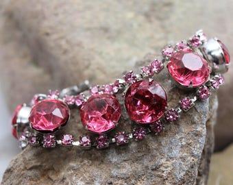 "RESERVED Vintage Pink Rhinestone bracelet, 7"" long, large pink rhinestones, silver tone setting, pink prom bracelet, estate jewelry"