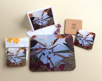 Leaf Art coasters, mousepads, 4x5 blank greeting cards - There Once Was A Bug Who Loved the Moon