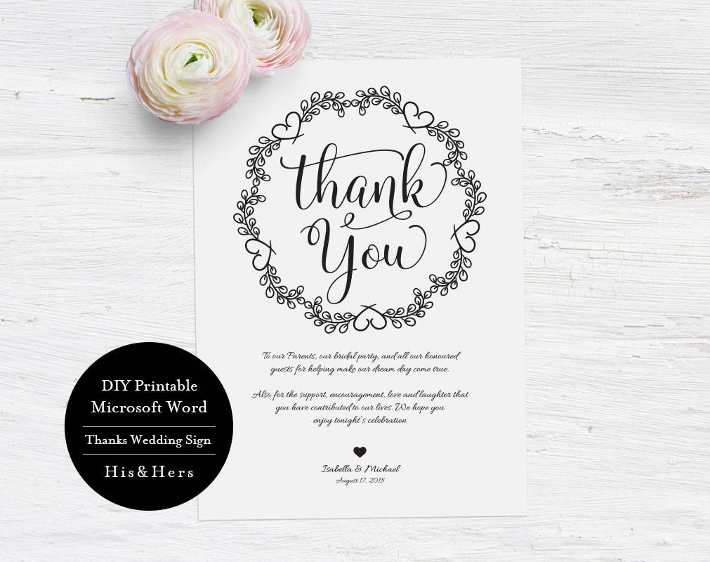 Gracias boda plantilla de tarjeta de boda para imprimir