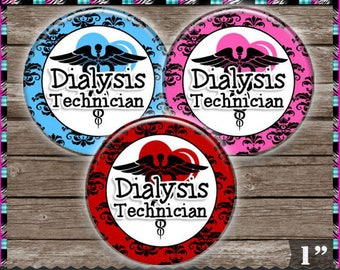 "Dialysis Technician, Tech, Medical, Damask 1663 - INSTANT DIGITAL DOWNLOAD - 1"" Bottlecap Button Badge Images (4x6) Digital Collage Sheet"