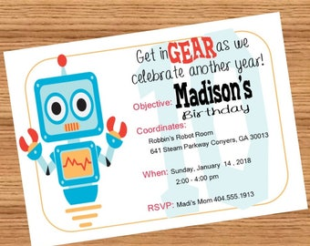 Robot Birthday Party Invitation (Personalized & Printable)