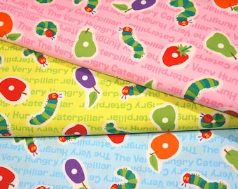 Very Hungry Caterpillar Fabric Printed in Japan  ©Eric Carle LLC Half meter 19.6 by 42 inches 3 colors to choose  nu31