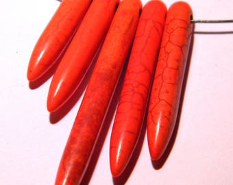 5 beads long-howlite natural - 20 to 50 mm - orange - PG140