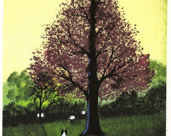 Border Collie Dog THE CLEARING limited edition reproduction art print of Todd Young painting