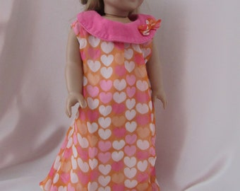 Sleeveless bubble dress in heart print for 18 inch dolls
