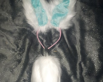 Blue rabbit tail and ears