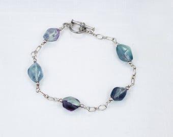 Rainbow Fluorite Bracelet with Sterling Silver