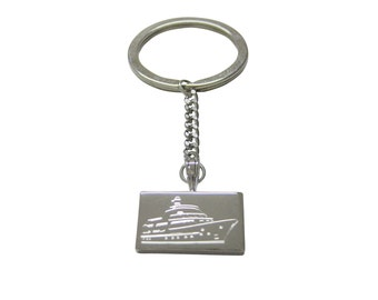 Silver Toned Etched Boat Keychain