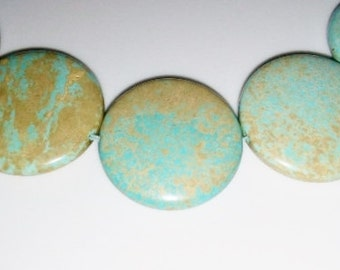SALE! Turquoise beads 30mm coin beads 30mm stone beads green stone beads blue stone beads semiprecious stone semiprecious beads turquoise