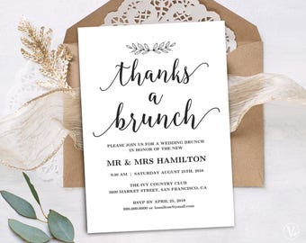 Wedding save the dates etsy in printable wedding brunch invitation card template simple and modern instant download editable text stopboris Image collections