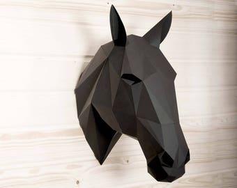Horse head DIY KIT papercraft 3d, Wall sculpture rustic home decor, Horse sculpture, horse art craft kit, animal sculpture animal head.