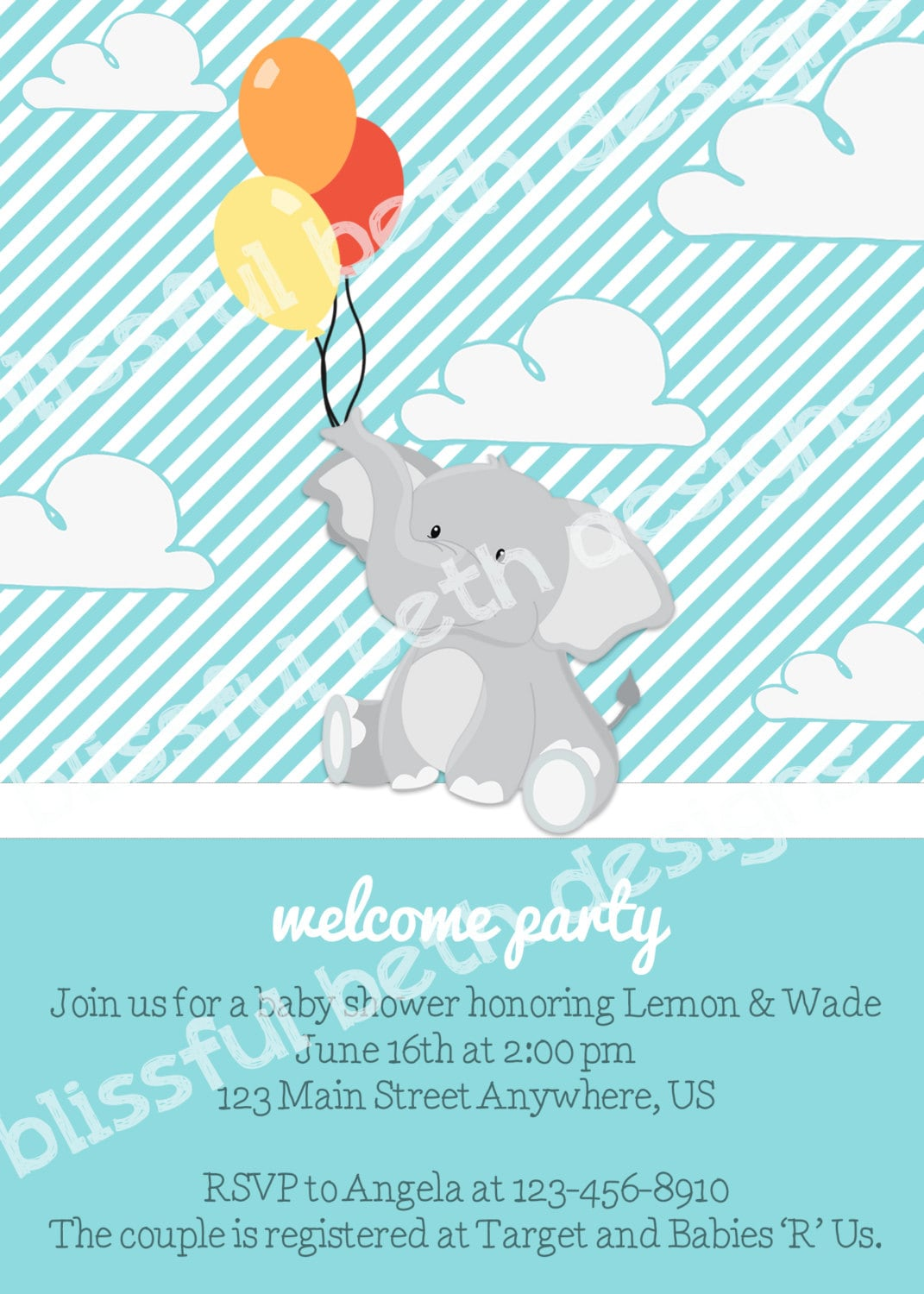 ELEPHANT BABY SHOWER, Elephant Baby Boy Shower Invitation, Elephant ...