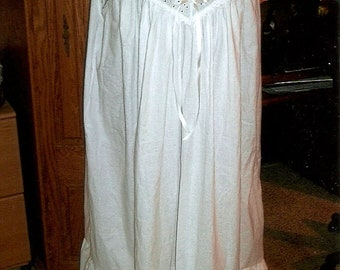 Calf Length Plus Size Victorian style sleeveless cotton nightgown with eyelet bodice and cotton lace