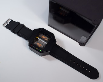Nixie tube watch assembled black colour anodized aluminium case with Usb charger