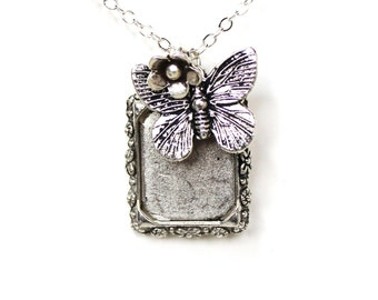 Picture frame rose flower silver charm necklace