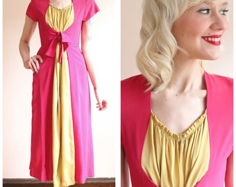 Early 1940s Dress // Saybury Magenta & Chartreuse Hostess Gown // vintage 40s dress