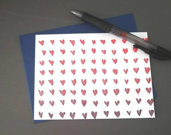 Set of 5 Red/Purple Ombre Hearts Letterpress Printed Card