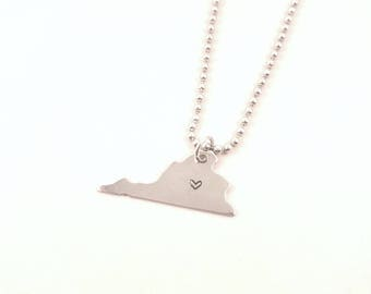 Virginia State Hand-stamped Necklace