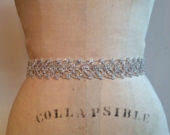 Bridal Belt-Bridal Sash-Bridesmaid Belt-Art Deco Rhinestone Beaded Bridal Sash Belt-Bridesmaid Sash-Beaded Rhinestone Wedding Sash Belt