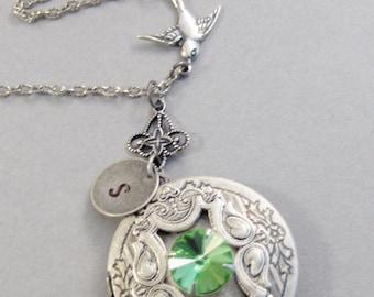 Victorian Sparrow,Peridot,Peridot,Peridot Neckalce,Bird Neckalce,Initial Necklace,Peridot Locket,Sparrow Locket, Antique Locket,valleygirl