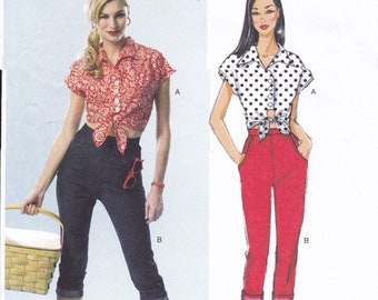 FREE US SHIP Butterick 5895 150th Anniversary Rockabilly Crop Tie Top Skinny Jeans Pants Uncut Sewing Pattern Uncut Size 12 14 16 18 20