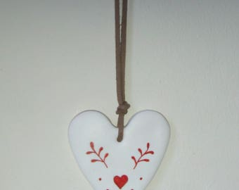 Polymer Clay Hanging Heart with Nordic design.
