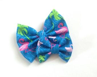 Tropical Flamingo Bow | Fabric Bow | Handmade Hair Bow | Hair Clip | Headband