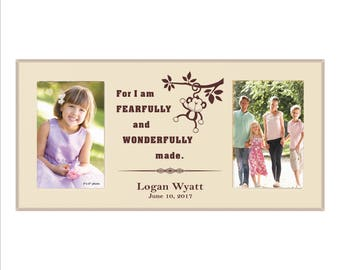 "Personalized Baby Picture Frame, ""For I am fearfully and wonderfully made"" Baby Gift Photo Frame, Custom Baby Shower Gift, Personalized Gift"