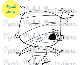 HALLOWEEN MUMMY GIRL- digital stamp, line art illustration for scrapbooking, card making, adult and kids coloring,  crafts.