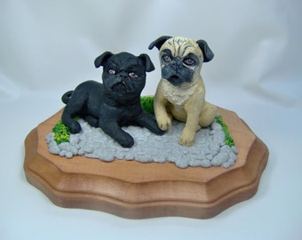 Custom Pet Sculptures Pug Dogs from your Photos