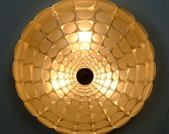 mid century CEILING FIXTURE frosted and clear glass op art relief pattern no. 358