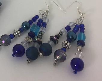 Beaded Drop Earrings-Blues