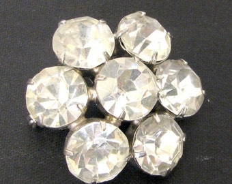 Vintage 1950s Hollywood Glamour Large Rhinestone Round Brooch Pin