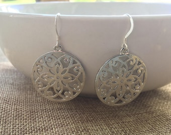 Silver Mandala Filigree Earrings