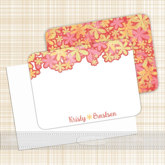 personalized notecards, notecard set, floral notecard set, thank you cards, girlfriend gift, personalized stationery, NS128