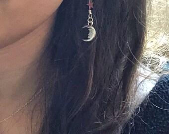 Star and Moon Dangle Earrings - Boho Celestial Earrings - Silver and Rainbow Luster Earrings