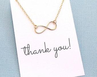 Hostess Gifts | Infinity Necklace, Boho Jewelry, Dainty Minimalist Jewelry, Wife Birthday, Valentines Gift | Silver, Rosegold, Gold |X07