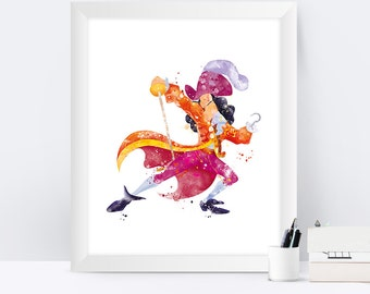Captain Hook Print Watercolor Peter Pan Nursery Wall Art Artwork Pirate Disney Print instant Download
