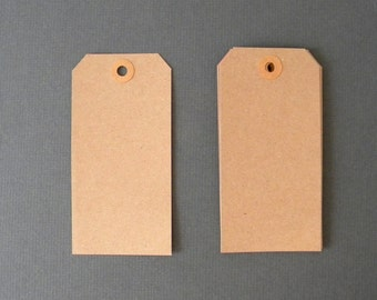 """25 Brown Kraft Tags, 4 3/4"""" x 2 3/8"""" Parcel Tags, Hang Tags, Kraft Reinforced Holes, Shipping Tag, Gift wrapping, Scrapbooking"""