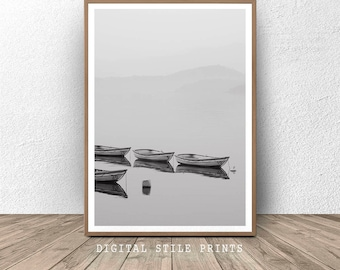 Boats Print, Black and White Photo, Boat Printable, Grey Home Decor, Modern Wall Art, Wooden Boat Print, Printable Wall Art, Nature Print