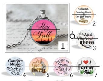 O' SNAP!!  Country Musing Switchable Charm Necklace or Keychain