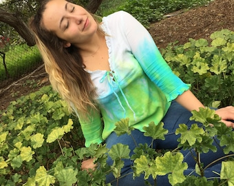 Tie Dye Tunic Blue and Green